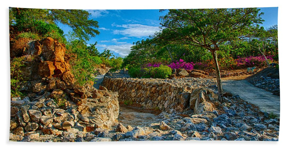 Botanical Garden Beach Towel featuring the photograph Rocky Garden Walk by Omaste Witkowski