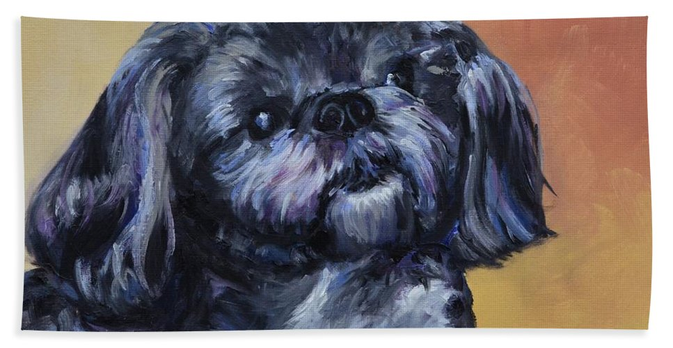 Rocky Beach Towel featuring the painting Rocky Jones by Donna Tuten