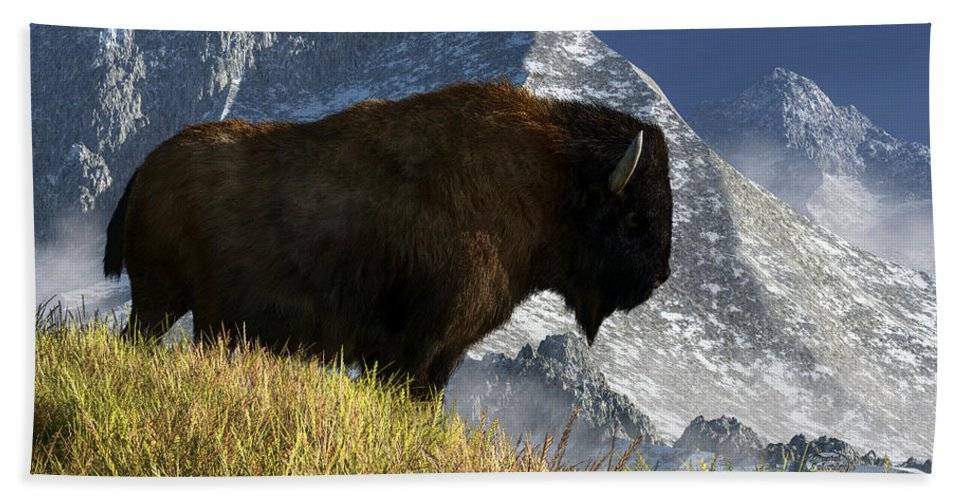 Bison Beach Sheet featuring the digital art Rocky Mountain Buffalo by Daniel Eskridge