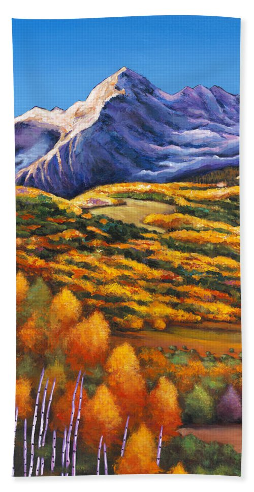 Autumn Aspen Beach Towel featuring the painting Rocky Mountain High by Johnathan Harris