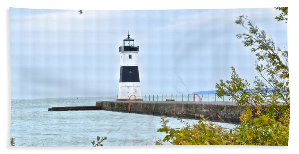 Cleveland Beach Towel featuring the photograph Rocky River Pier by Frozen in Time Fine Art Photography
