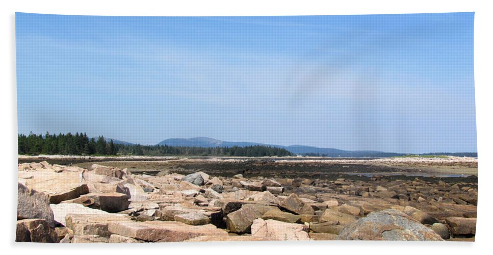 Acadia Beach Towel featuring the photograph Rocky Shore To Rocky Mountain by Elizabeth Dow