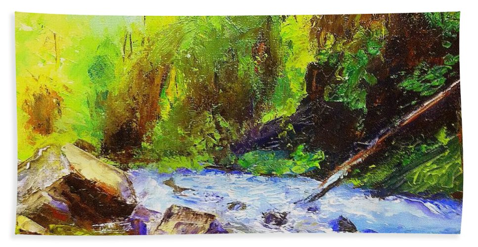 Water Beach Towel featuring the painting Rocky Stream by Gail Kirtz