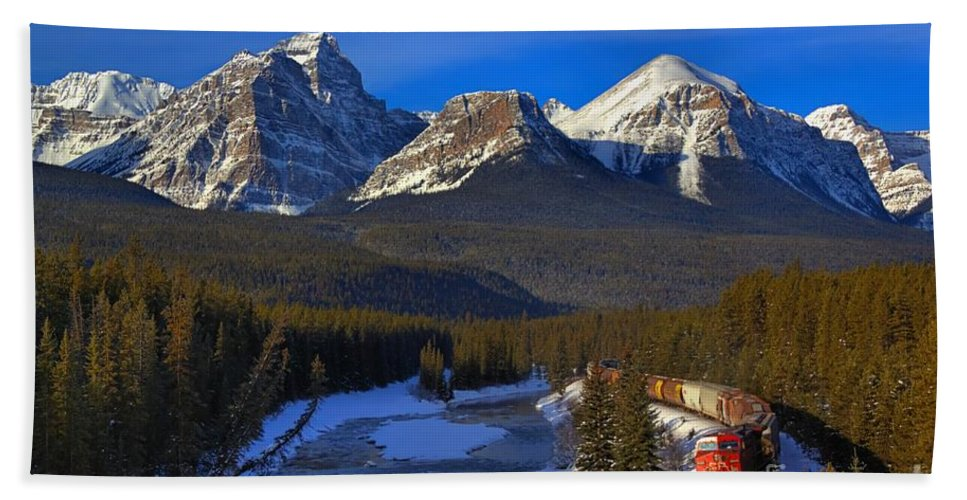 Cp Rail Beach Towel featuring the photograph Rocky Train by James Anderson