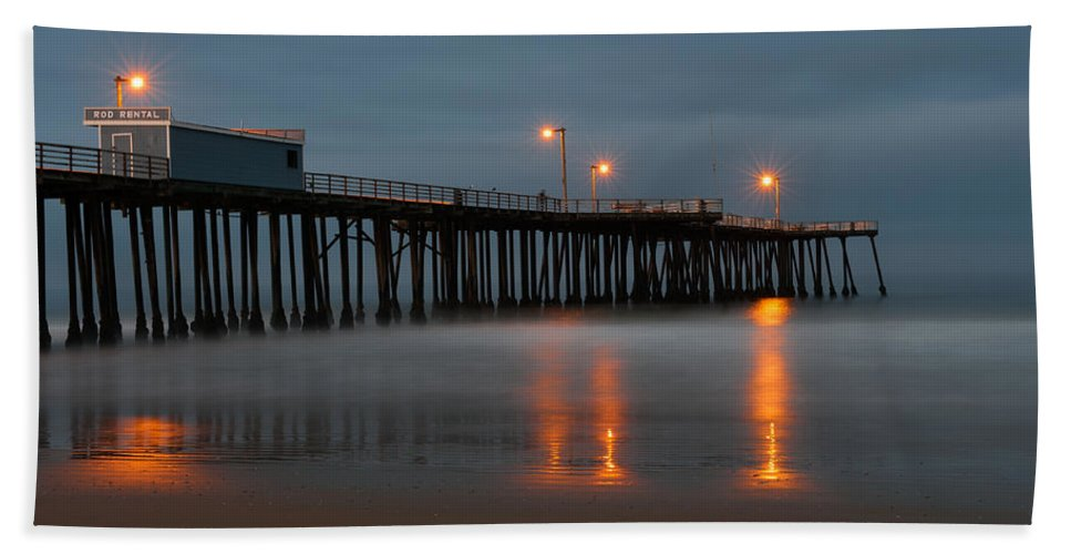 Pismo Beach Beach Towel featuring the photograph Rod Rental At The Pier by Wim Slootweg