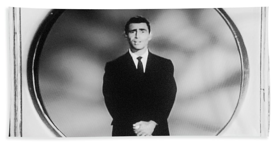 The Twilight Zone Beach Towel featuring the photograph Rod Serling On T V by Rob Hans