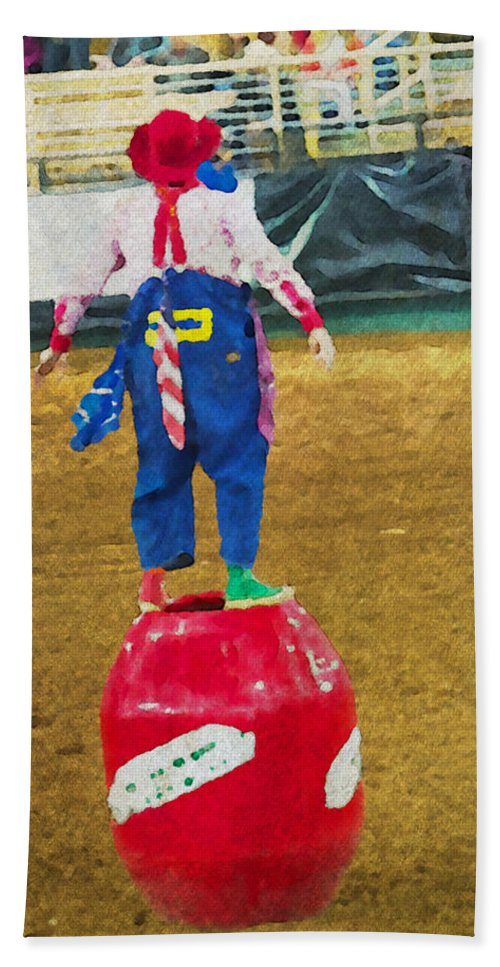 Clown Rodeo Barrel Man Bull Riding Alicegipsonphotographs Beach Towel featuring the photograph Rodeo Barrel Clown by Alice Gipson