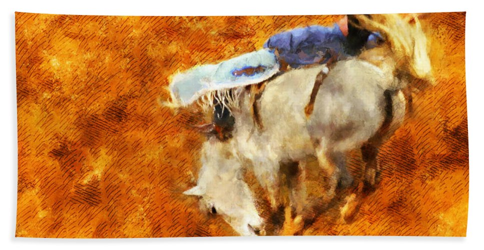 Horse Beach Towel featuring the painting Eight-second Ride by Greg Collins