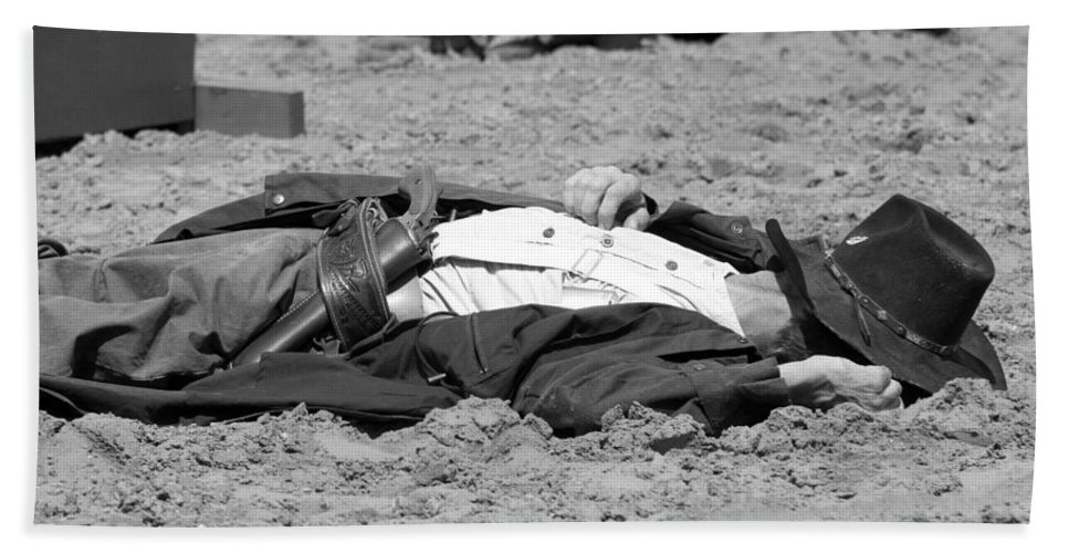Rodeo Beach Towel featuring the photograph Rodeo Gunslinger Victim Bw by Sally Rockefeller
