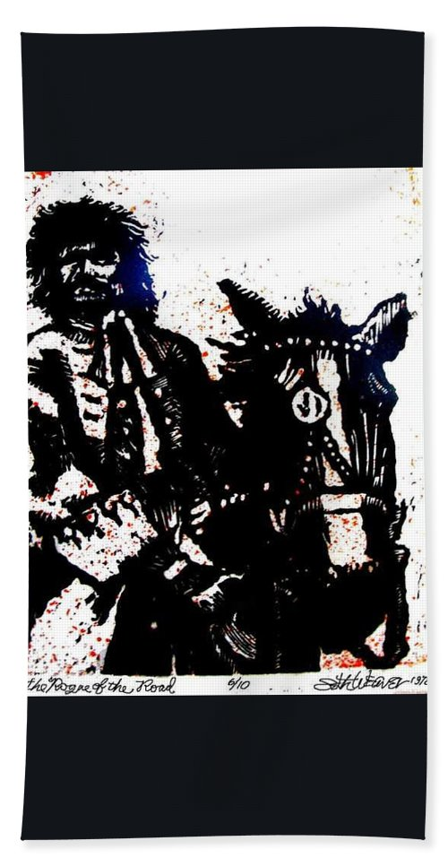 English Highwayman Beach Towel featuring the mixed media Rogue of the Road by Seth Weaver