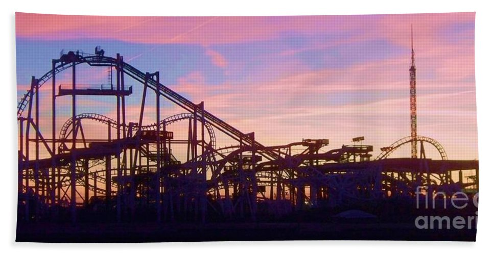 Roller Coaster Beach Towel featuring the photograph Roller Coaster At The Nj Shore by Eric Schiabor