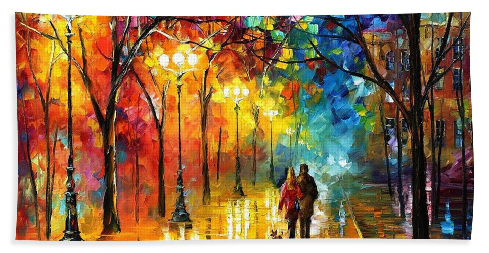 Oil Paintings Beach Towel featuring the painting Romantic Stroll - Palette Knlfe Oil Painting On Canvas By Leonid Afremov by Leonid Afremov