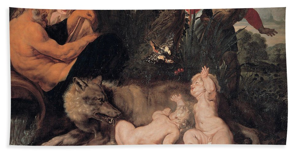 Beach Towel featuring the painting Romulus And Remus by Viktor Birkus