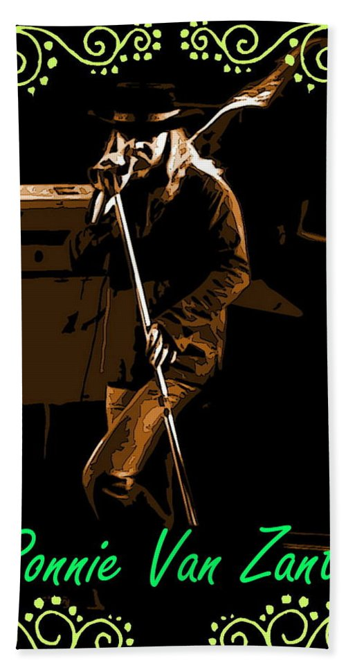 Ronnie Van Zant Beach Towel featuring the photograph R V Z by Ben Upham