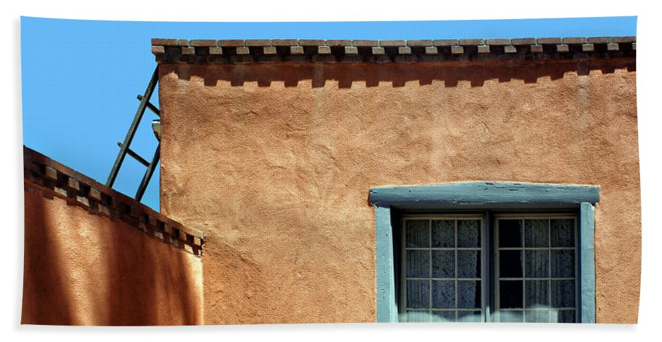 New Mexico Beach Towel featuring the photograph Roof Corner With Ladder And Window by Nikolyn McDonald