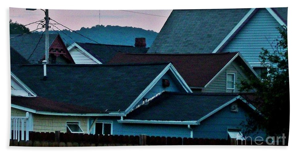 Small Town. Roof Tops Beach Towel featuring the photograph Roof Top Symphony by Christian Mattison