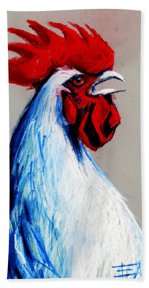Rooster Head Beach Towel featuring the painting Rooster Head by Mona Edulesco