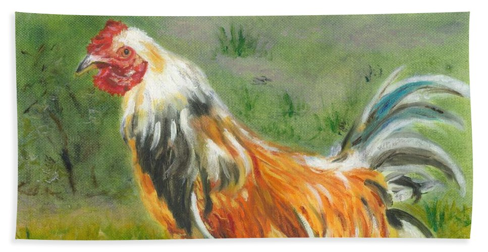 Rooster Beach Towel featuring the painting Rooster Rules by Paula Emery
