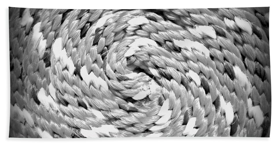 Rope Beach Towel featuring the photograph Rope Black And White by Clare Bevan