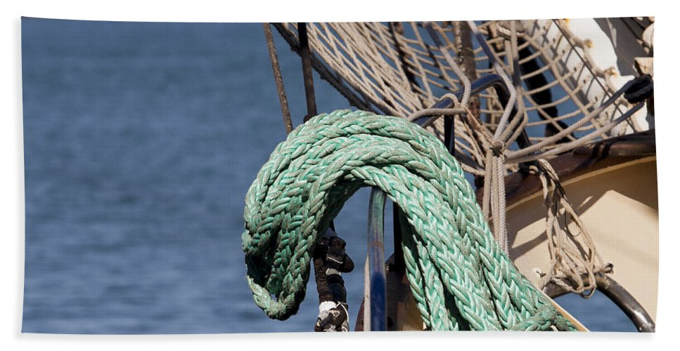 Ship Beach Towel featuring the photograph Ropes And Rigging by Michelle Wrighton