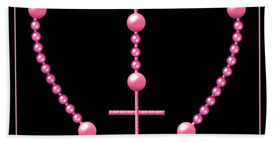 Rosary Beach Towel featuring the digital art Rosary With Pink And Purple Beads by Rose Santuci-Sofranko