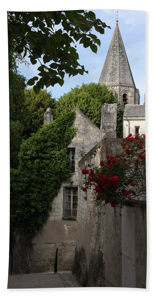Narrow Street Beach Towel featuring the photograph Rose Lane In Loches by Christiane Schulze Art And Photography