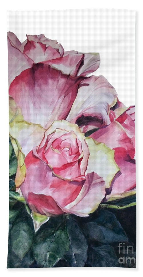 Watercolor Beach Towel featuring the painting Watercolor of a Bouquet of Pink Roses I call Rose Michelangelo by Greta Corens