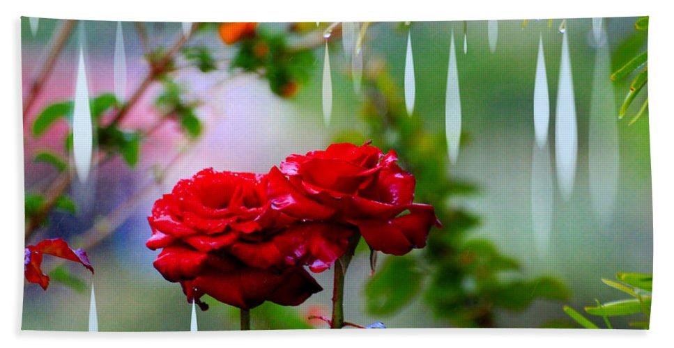 Augusta Stylianou Beach Towel featuring the digital art Rose Water Drops by Augusta Stylianou