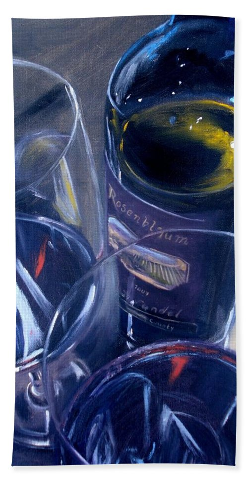Wine Beach Towel featuring the painting Rosenblum And Glasses by Donna Tuten