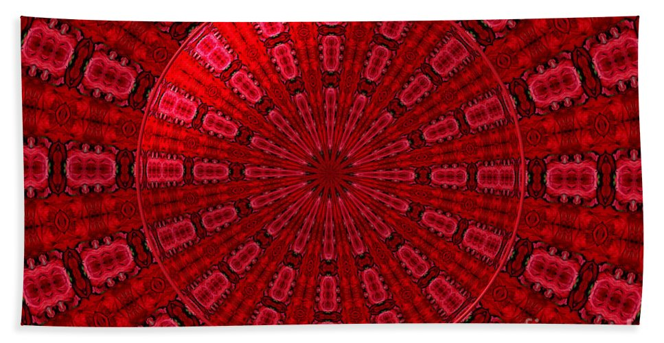 Red Roses Beach Towel featuring the photograph Roses Kaleidoscope Under Glass 10 by Rose Santuci-Sofranko