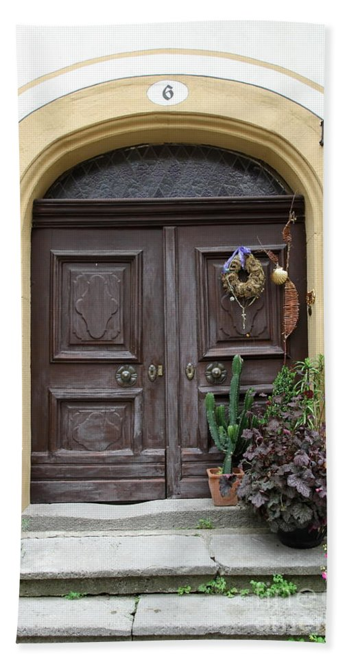 Village Beach Towel featuring the photograph Rothenburg Ob Der Tauber Door by Christiane Schulze Art And Photography