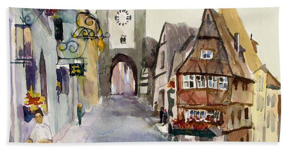 Street Scene Beach Towel featuring the painting Rothenburg by Sherri Bails