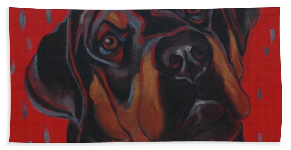 Dog Beach Towel featuring the painting Rottweiler by Pet Whimsy Portraits