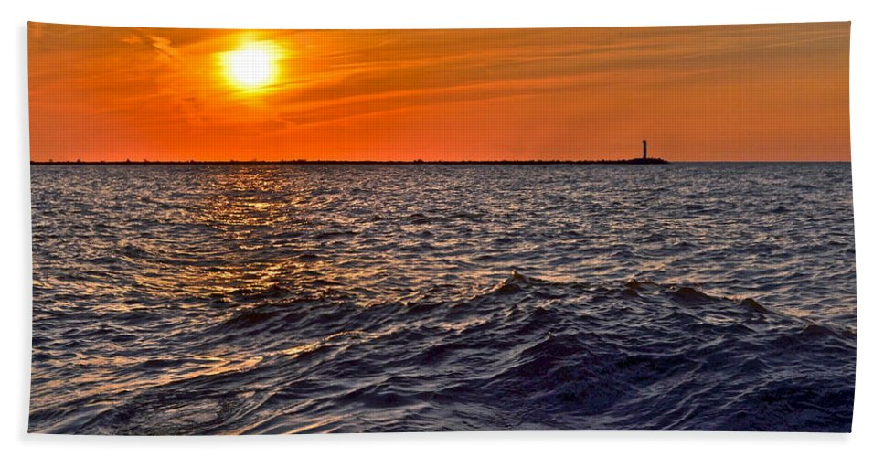 Seascape Beach Towel featuring the photograph Rough Sea by Frozen in Time Fine Art Photography