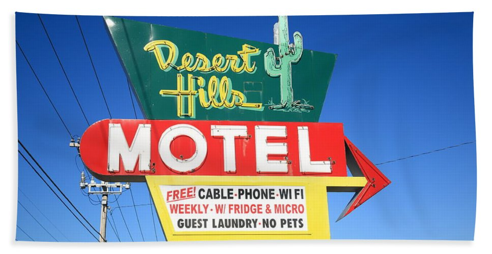66 Beach Towel featuring the photograph Route 66 - Desert Hills Motel by Frank Romeo