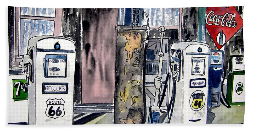 Watercolor Beach Towel featuring the painting Route 66 Gas Station by Derek Mccrea