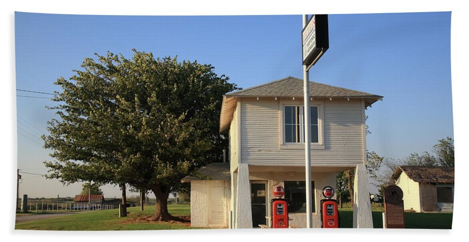 66 Beach Towel featuring the photograph Route 66 - Lucilles Gas Station by Frank Romeo