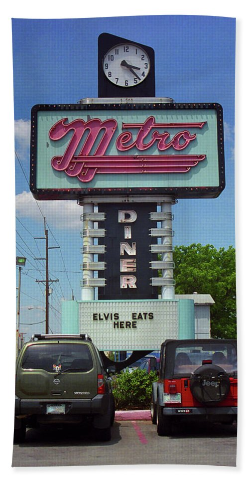 66 Beach Towel featuring the photograph Route 66 - Metro Diner by Frank Romeo