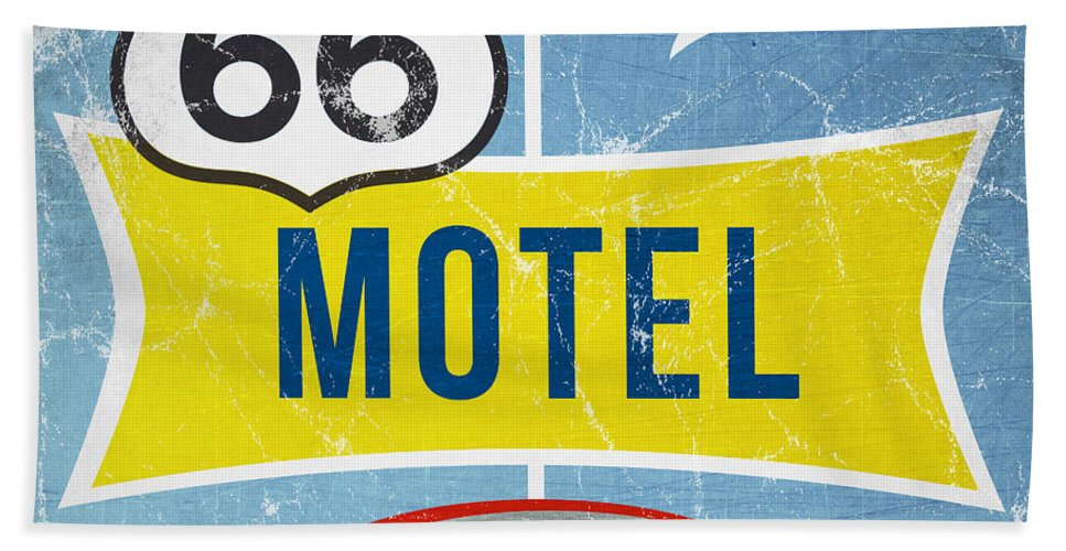 Motel Beach Towel featuring the painting Route 66 Motel by Linda Woods