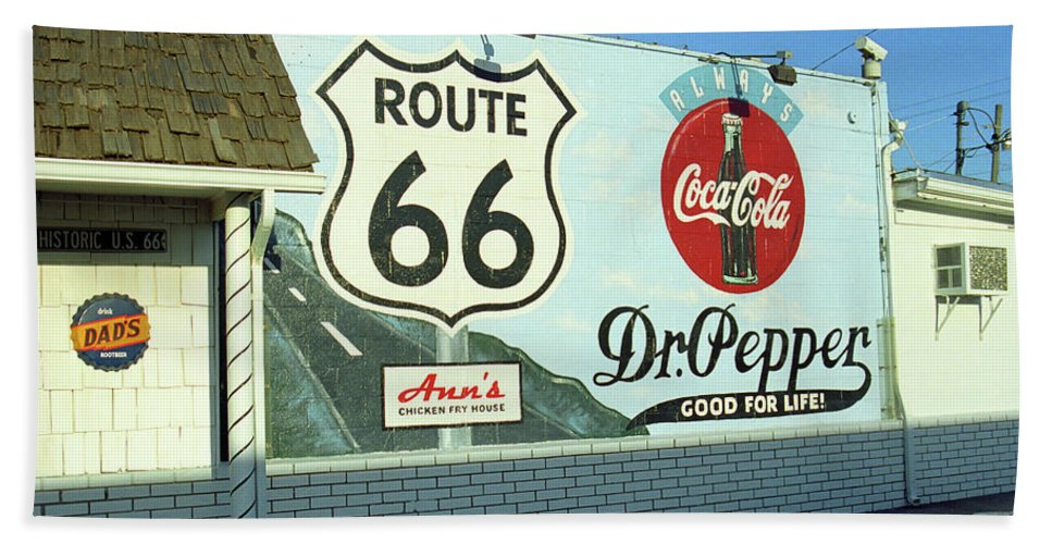 66 Beach Towel featuring the photograph Route 66 - Mural With Shield by Frank Romeo