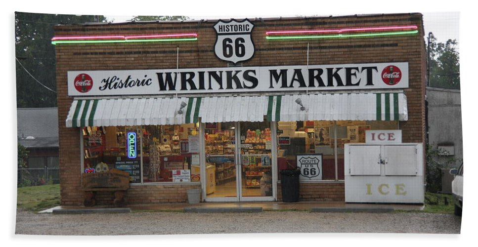 66 Beach Towel featuring the photograph Route 66 - Wrink's Market by Frank Romeo