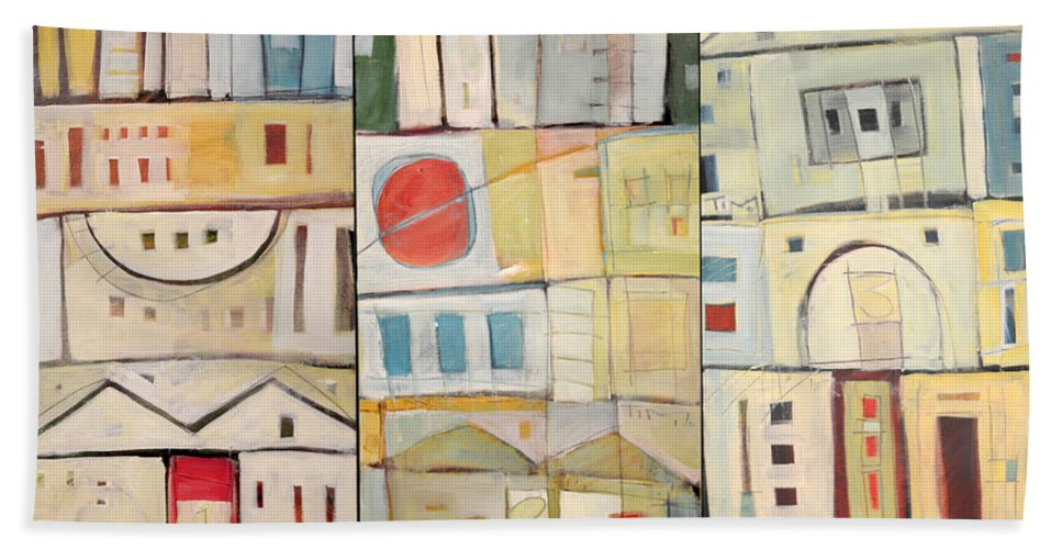 Row Houses Beach Towel featuring the painting Rowhouses Triptych by Tim Nyberg