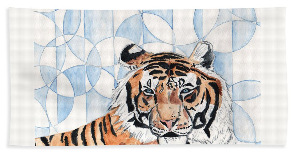 Tiger Beach Towel featuring the painting Royal Mysticism by Crystal Hubbard