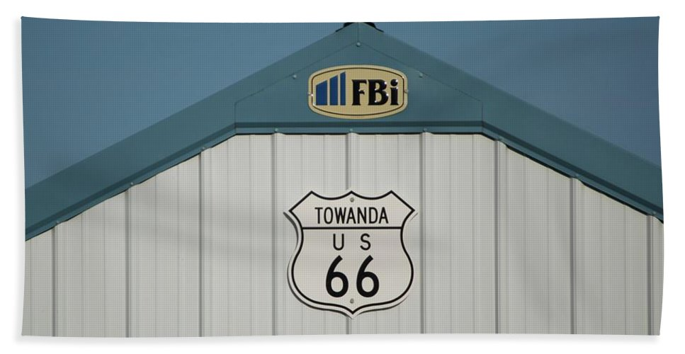 Mother Road Beach Towel featuring the photograph Rt 66 Towanda Plague by Thomas Woolworth