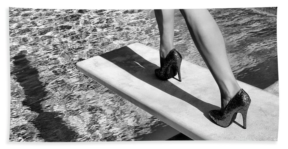 Ruby Heels Beach Towel featuring the photograph Ruby Heels Bw Palm Springs by William Dey