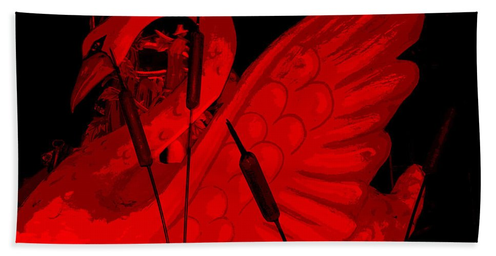 Abstract Beach Towel featuring the photograph Ruby Red Swan by Marian Bell