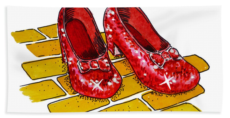 Wizard Of Oz Beach Towel featuring the painting Ruby Slippers The Wizard Of Oz by Irina Sztukowski