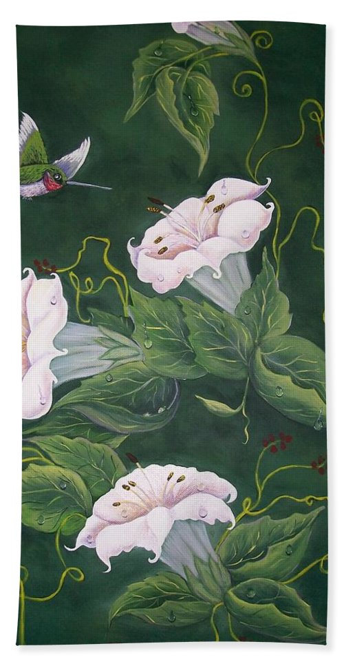 Hummingbird Beach Towel featuring the painting Hummingbird And Lilies by Sharon Duguay