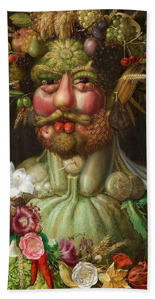 Giuseppe Arcimboldo Beach Towel featuring the painting Rudolf II Of Habsburg As Vertumnus by Giuseppe Arcimboldo