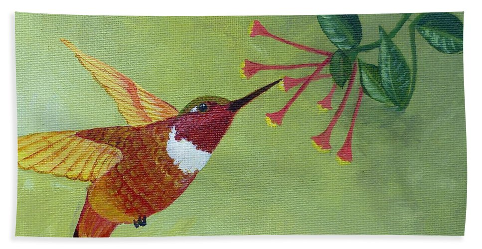 Hummingbird Beach Towel featuring the painting Rufous Hummingbird by Alicia Fowler